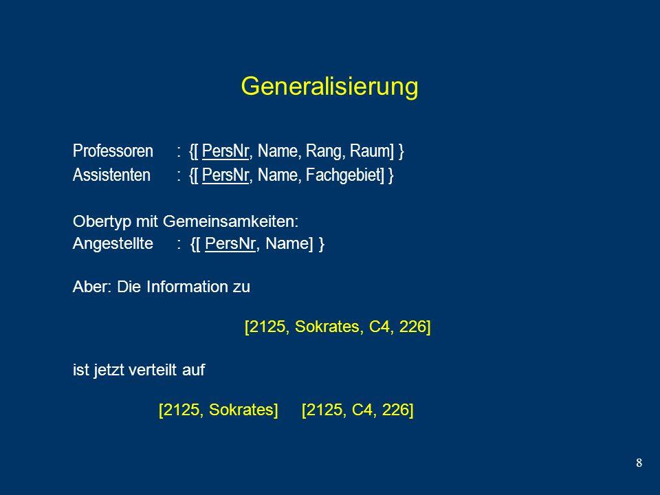 Generalisierung Professoren : {[ PersNr, Name, Rang, Raum] }